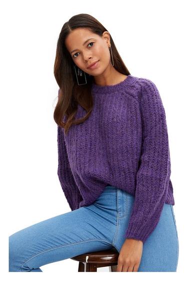 Púlover Defacto De Tricot Holgado Para Mujer, Púrpura