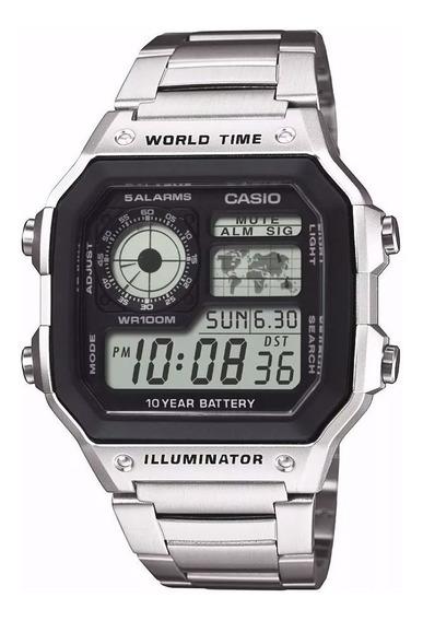 Relogio Casio Digital Ae 1200whd Aço Crono 5alarm Wr100m