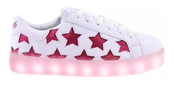 Zapatillas Footy Blancas Estrella Luces Led Usb Fty Calzados