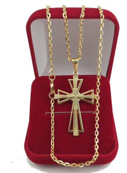 Corrente Banhada A Ouro 18k Com Pingente Cruz Promoção