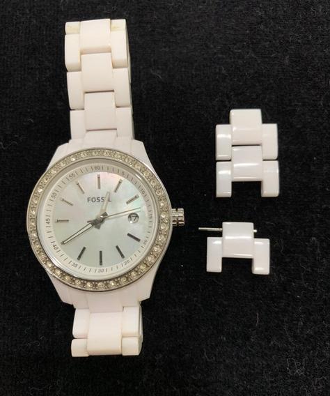 Relógio Feminino Fossil Branco Com Strass - Muito Novo.