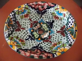 Lavabo Ovalin Artesanal Talavera Fina Estilo Antiguo. Mod V1