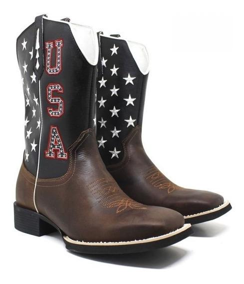 Bota Texana Couro Legitimo Unissex U.s.a