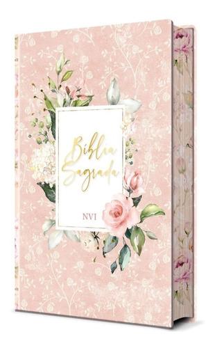 Imagem 1 de 7 de Bíblia Sagrada Flores Rosa | Capa Dura Nvi | Pão Diário