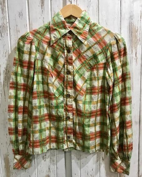 Camisa Vintage Retro Escosesa Talle S Cuello Puntiagudo