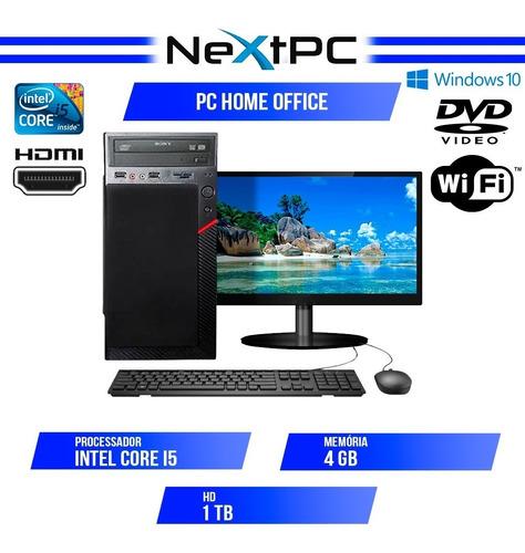 Computador Completo I5 4gb Hd 1tb Monitor 19.5 Wifi Win10