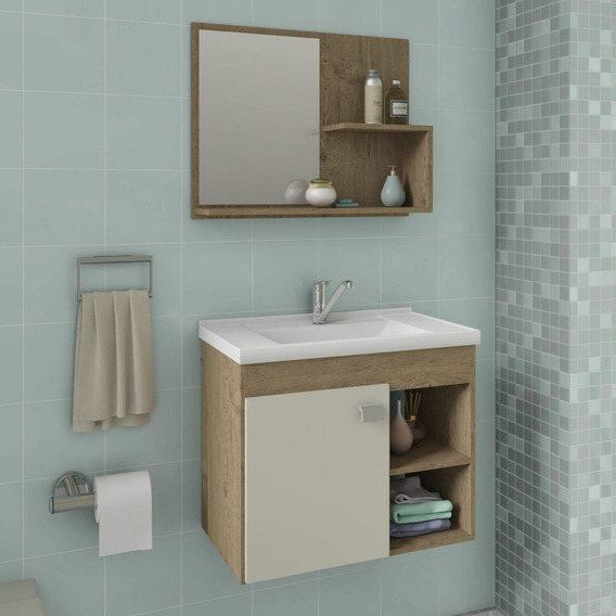 Gabinete De Banheiro Cuba E Espelheira 1 Porta 2 Fe