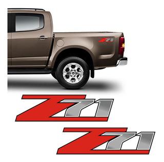Par Adesivos Z71 S10 Silverado D20 Emblema Lateral Chevrolet