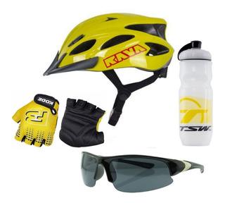 Capacete Bike+luvas Ciclismo+óculos Esporte+ Squezze Brinde
