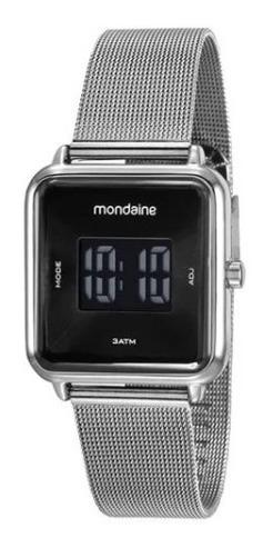 Relógio Mondaine Mostrador Digital E Caixa E Pulseira Prata