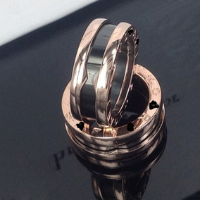 Par Aliança Anel Rosê 8mm Cerâmica Preta Casamento Noivado