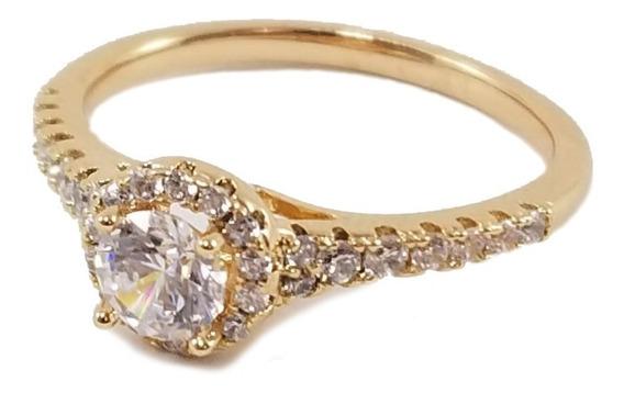 Anillo Compromiso Hermoso Zirconia Diamante Oro18k Lam