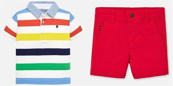 Conjunto Mayoral #18 Meses Polo Y Short Rojo Est. 1115 R