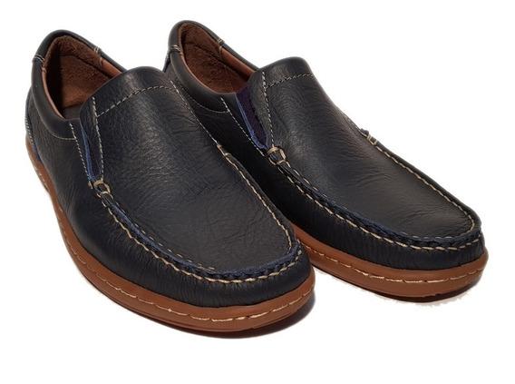 Zapatos Mocasines 354 Cuero Goma Febo Negro Caramelo