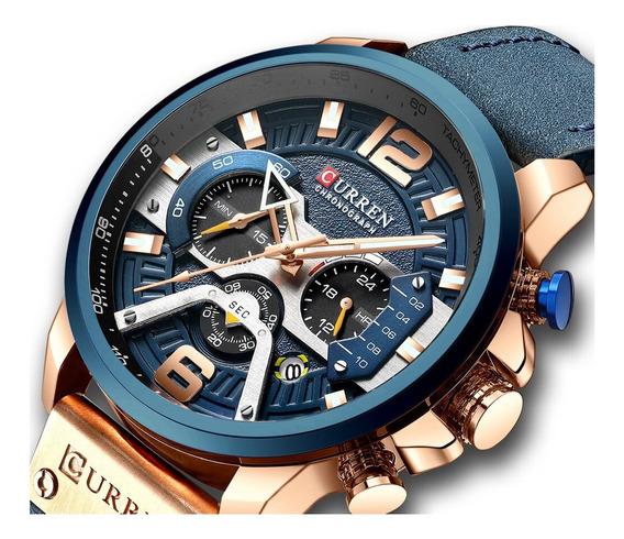 Relógio Masculino Curren 8329 Resiste Água Azul