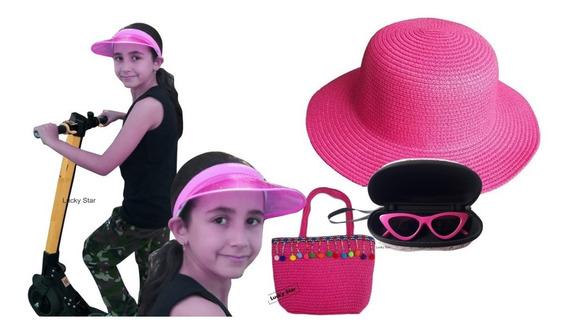 Bolsa Infantil + Viseira Anita + Óculos + Chapéu Kit