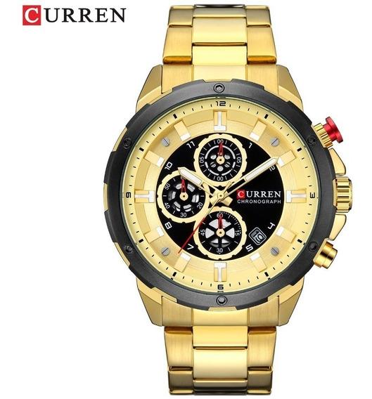 Relógio Superluxuoso Barato Dourado Preto Aço Inoxidável