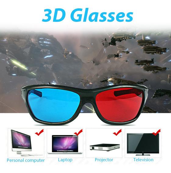 Vermelho Azul Óculos 3d Moldura Preta Para O Projetor De Dvd