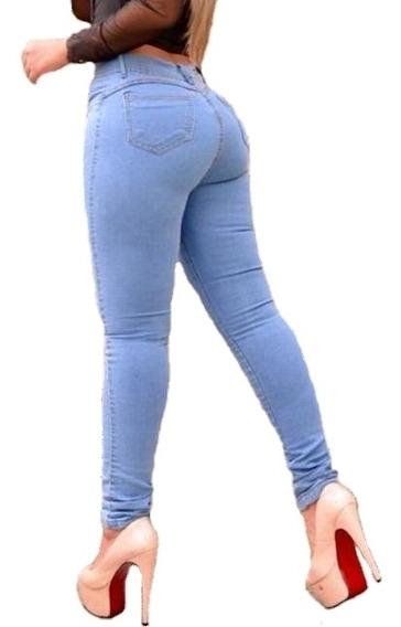 Calça Feminina Jeans Cós Alto Skinny Com Lycra Empina Bumbum