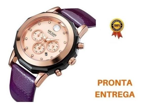 Relógio Feminino Lilás Megir Pronta Entrega Frete Grátis