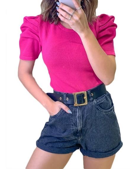 Blusa Tricot Modal Manga Bufante Princesa Curta Puff Moda