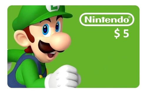 Tarjeta Prepaga Nintendo Eshop Gift Card $5 U.s.a.