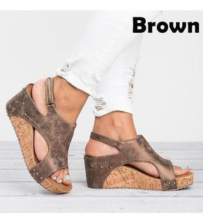 Sandalias De Tacón Plataformas Altas Con Peep Toe 3 Colores
