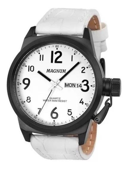 Relógio Masculino Pulseira De Couro Branca Ma33415b Original