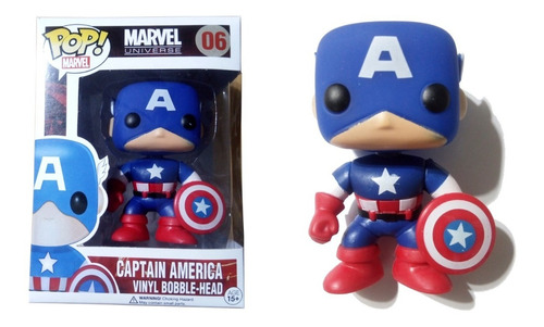 Muñeco Capitán América Símil Funko Pop! #06 Articulado 9 Cm