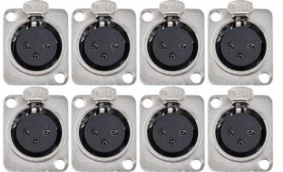 Kit 8 Plug Xlr Painel Femea Tblack - Loja