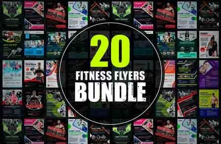 Pacote De 20 Flyer Fitness Editáveis Em Psd(photoshop)