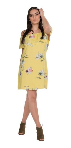 Vestido Corto Dama Amarillo Floreado Sin Hombros S91107