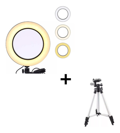 Kit Iluminador Led Ring Light Tricolor Profissional E Tripé