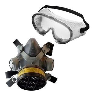 Mascara Respiratória Com 1 Filtro P/ Gases Ácidos + Óculos
