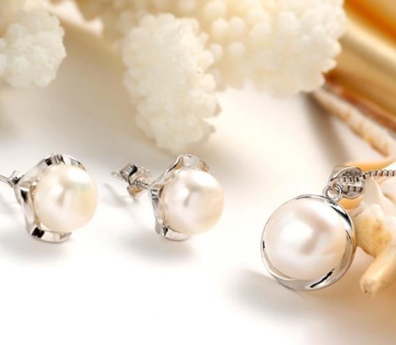 Set Collar Y Aretes Perlas Naturales Auténticas Aaa Plata