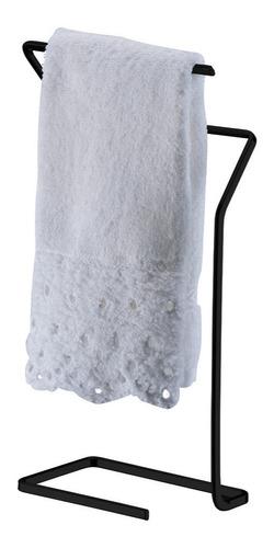 Imagem 1 de 3 de Porta Toalha De Bancada Rosto E Mãos Lavabo Aço Preto Fosco