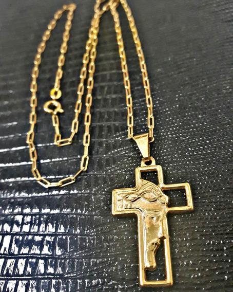 Cordão Corrente Cartier Banhado Ouro 18k Pingente Face Jesus