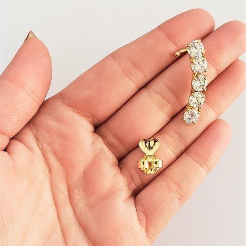 Brinco Feminino Semijoia Ear Cuff Zircônias Brancas Ouro 18k