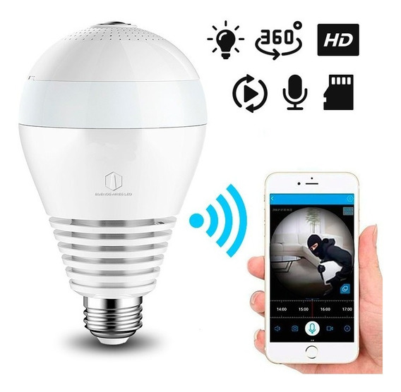 Lampara Espia Led Camara Hd 360° Sensor Alarma Graba 64 Gb