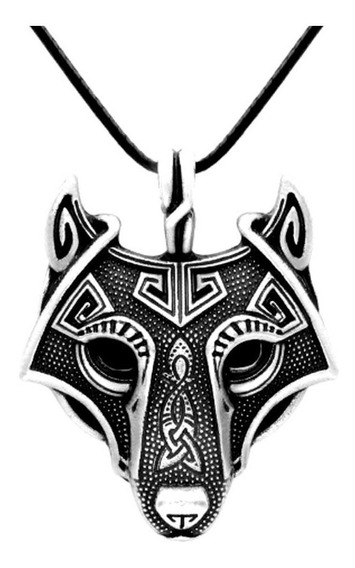 Colar Cordao Viking Lobo Fenris Odin Tribal Runas Amuleto
