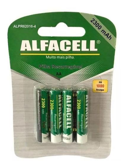 4 Pilhas Aa Recarregáveis Alfacell Até 1000 Recargas 1,2v