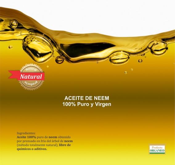 Aceite De Neem 100% Puro Y Virgen Prensado En Frio 1 Lt