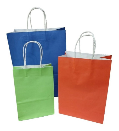Bolsas De Papel Con Asas Pack X 12 Mediana Varios Colores