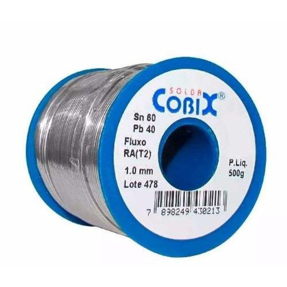 Solda Estanho 60x40 1mm C/ Fluxo Ra (t2) Rolo 500g - Cobix