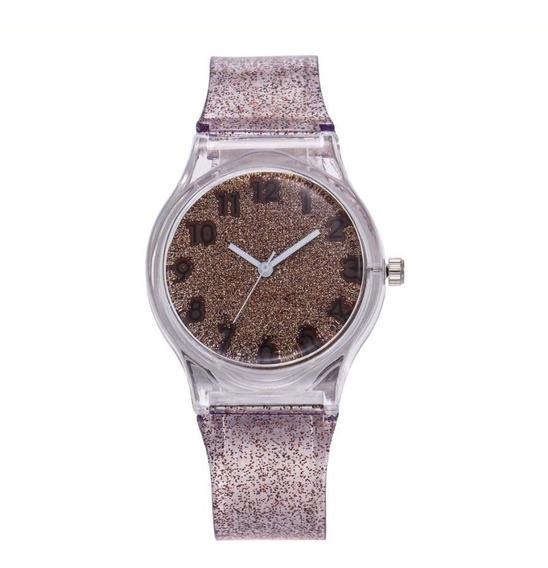 Relógio Feminino Com Gliter Pulseira Silicone