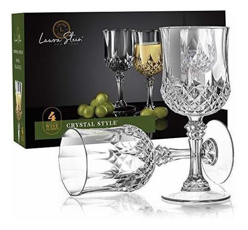 Laura Stein 4 Pack De Copas De Vino Estilo Cristal Con Tallo