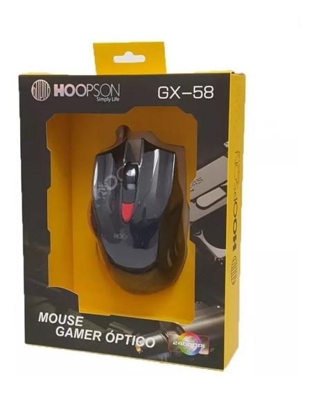 Mouse Gamer Usb Hoopson Gx-58 Com Led 2400dpi