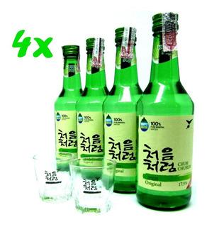Soju Bebida Coreana Chum-churum Importado 4x+brinde 2 Copos