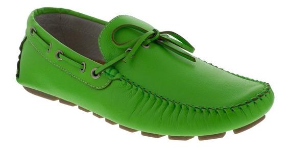Zapato Hombre F.nebuloni Casual Tipo Mocasín Verde Neon