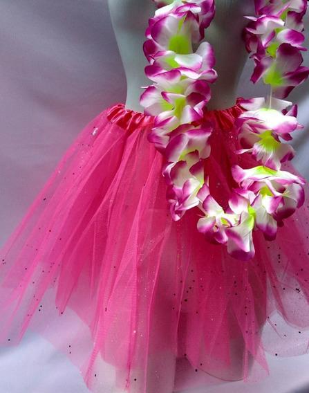 Kit 2pças Saia Tule Ballet Fantasia+colar Flores De Carnaval